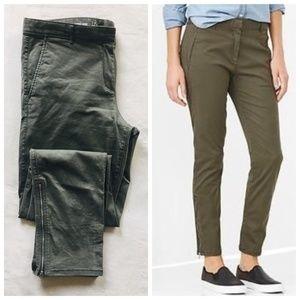 GAP Skinny Mini Zip Khakis Oil Green 12 TALL